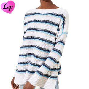 LOFT Oversized Drop Sleeve Sweater Blue Stripes XS